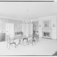 Mr. and Mrs. Pierre S. Dupont III, residence on Rockland Ave., Wilmington, Delaware. Dining room, to fireplace