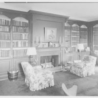 Mr. and Mrs. Pierre S. Dupont III, residence on Rockland Ave., Wilmington, Delaware. Library, to fireplace