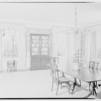 Mr. and Mrs. Pierre S. Dupont III, residence on Rockland Ave., Wilmington, Delaware. Dining room, to windows