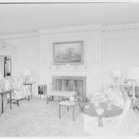 Mr. and Mrs. Pierre S. Dupont III, residence on Rockland Ave., Wilmington, Delaware. Living room, to fireplace
