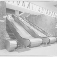 New York Coliseum, Columbus Circle. Escalators, detail