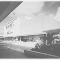 Burdine's department store, business in 163rd St. Shopping Center, Miami, Florida. Exterior entrance facade