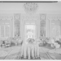 Mr. and Mrs. Diego Suarez, residence on Wheatley Rd., Brookville, Long Island. Living room, to windows, awnings up