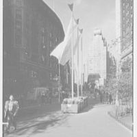 New York City views. Greeley Square flags