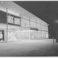 Bee Hive department store, business in Patchogue, Long Island. Night, exterior detail