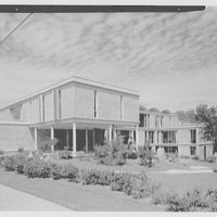 Central Nassau Medical Group, Hempstead, Long Island. Broad view of south and west facades, noon