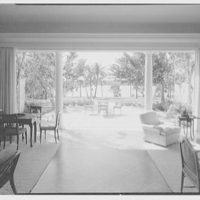 Marcus Beebe, residence in Hobe Sound, Florida. Loggia, to terrace