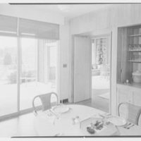 Mr. and Mrs. Frederick M. Warburg, residence in Stamford, Connecticut. Dining room, to living room