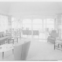 Everett E. Hunkins, residence on Galleon Dr., Port Royal, Naples, Florida. Living room, to window