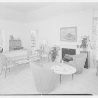 Everett E. Hunkins, residence on Galleon Dr., Port Royal, Naples, Florida. Living room, to fireplace