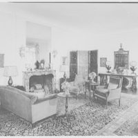 Frederick R. King, residence in Woodbury, Long Island, New York. Living room, to fireplace