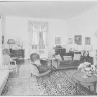 Frederick R. King, residence in Woodbury, Long Island, New York. Living room, to window