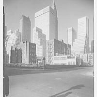 New York City views. Midtown group from E. 39th St. and Midtown Tunnel exit