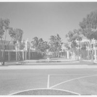 Ponciana Plaza and Coconut Row, Palm Beach, Florida. Center view of wall from high viewpoint