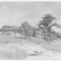Richard Wheelwright, residence in Riverside, Connecticut. Exterior from rocks II