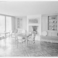 Roy E. Larsen, residence at 5060 Congress St., Fairfield, Connecticut. Boy's living room, to fireplace