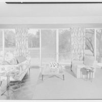 Roy E. Larsen, residence at 5060 Congress St., Fairfield, Connecticut. Living room, to window