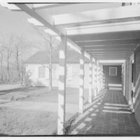 Mr. and Mrs. Hugh Chatham, residence in Elkin, North Carolina. East wing through pergola