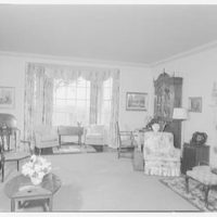 Mr. and Mrs. Hugh Chatham, residence in Elkin, North Carolina. Living room, to window