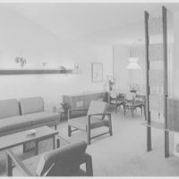 Mr. and Mrs. M. Lerner, residence on Birmington Pkwy., Bayside, Long Island. Living room, to dining room