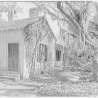 Mrs. Reynolds Bagley, Musgrove Plantation, residence on St. Simons Island, Georgia. Small house