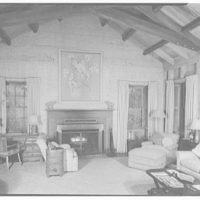 Mrs. Reynolds Bagley, Musgrove Plantation, residence on St. Simons Island, Georgia. Living room, to fireplace