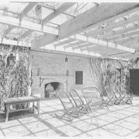 Mrs. Reynolds Bagley, Musgrove Plantation, residence on St. Simons Island, Georgia. Pool house interior