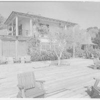 Mrs. Reynolds Bagley, Musgrove Plantation, residence on St. Simons Island, Georgia. Main house from terrace