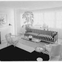 Raymond Loewy, apartment at 900 5th Ave., New York City. Living room, to bay window