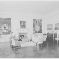 William E.S. Griswold Sr., residence in East Norwich, Long Island. Living room, to fireplace