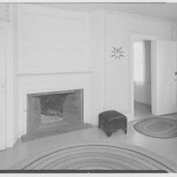 Pierce homestead, Hillsboro, New Hampshire. Fireplace in bedroom showing stenciling