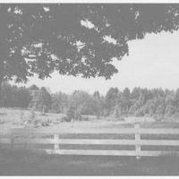 Pierce homestead, Hillsboro, New Hampshire. View to field at rear of house
