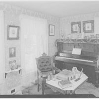 President Calvin Coolidge. Front parlor, on left three pix father, on table eyeglasses and stereopticon