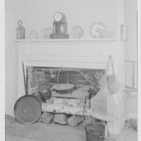 President Grover Cleveland's birthplace, in Caldwell, New Jersey. Fireplace with net, creel, clock and lantern used on campaign
