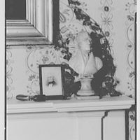 President James K. Polk, residence in Columbia, Tennessee. Close-up with Jackson bust, chair, and Polk pistol