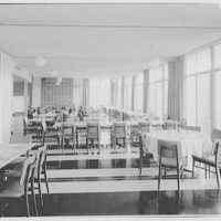 Smith College Faculty Center, Northampton, Massachusetts. Long shot, dining room, natural light