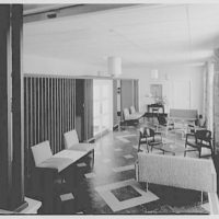 Smith College Faculty Center, Northampton, Massachusetts. Looking down, lounge