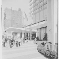 Americana Hotel, 52nd St. and 7th Ave., New York City. Sidewalk view from south