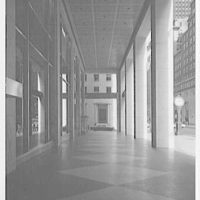 Morgan Guarantee Trust Building, 44th St. and 5th Ave. Through columns, looking north
