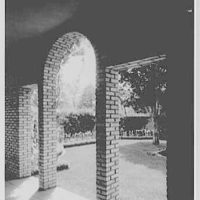 Mrs. Burnham Lamb, residence on Cove Rd., Oyster Bay, Long Island. Forecourt from entrance passage