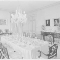 Mrs. Robert M. Hillas, residence in Indian Harbor, Greenwich, Connecticut. Dining room, to window