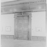 Morgan Library, E. 36th St., New York City. Detail of panelled exhibition room door