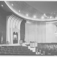 Shaare Zion Temple, 2030 Ocean Pkwy., Brooklyn, New York. Wide view of interior, night