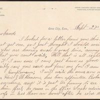 Letter from Laura I. Oblinger to Uriah W. Oblinger, September 27-29 1890